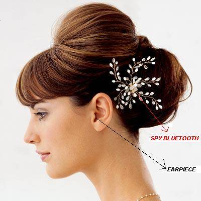 Spy Bluetooth Earpiece Hair Clip Set In India